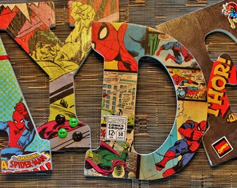 The Avengers Marvel Comics, Spiderman, Thor, Captain America, The Hulk, Ironman, Custom Handmade letters