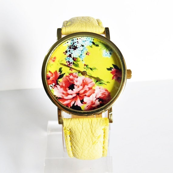 Hydrangea Flower Watch, Watches for Women, Floral Jewelry, Plants Print, Ladies Watch, Yellow, Wrist Watch, Gifts for Her, Birthday Gift,