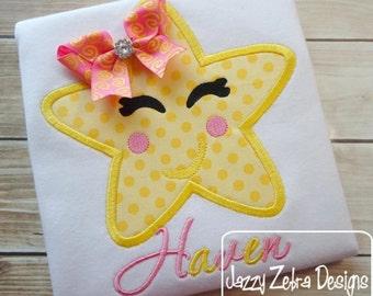 Lil' Star Applique embroidery Design - star Applique Design - girl Appliqué Design - school Appliqué Design - star fish Applique Design