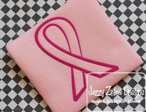 Pink Ribbon Filled Outline embroidery Design - ribbon embroidery Design - cancer embroidery Design - awareness embroidery Design