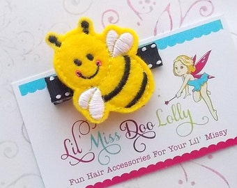 Embroidered Felt Clippie- Buzzy Bumble Bee Feltie Clippie- Bee Hair Clippie- Bug Feltie Barrette- Yellow and Black (Set of 1)