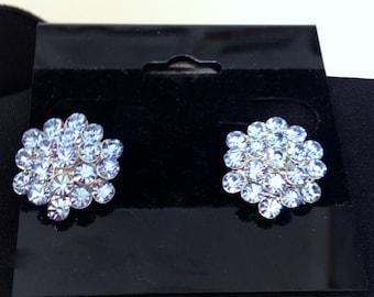 Blue Swarovski Crystal 1950's / 1960's Clip On Earrings