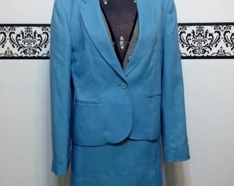 1960's Cool Blue Women's Suit Set , Vintage Jacket and Skirt Set, Mad Men Suit, Pin Up Attire Size Medium 6/8