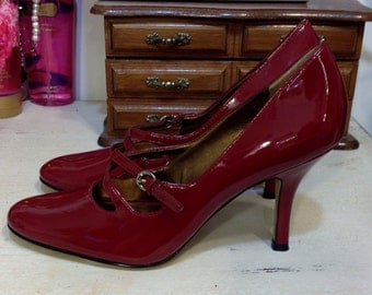 80's Does 50's Deep Cherry Red Patent Leather Mary Jane Pumps by Anne Klein, Size 6.5, Vintage Pin Up / Bombshell Heels Roud Toe