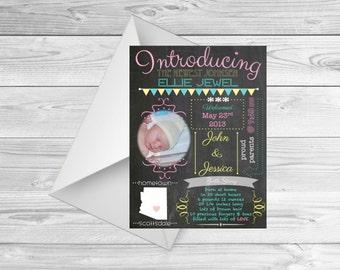 Chalkboard Birth Announcement, Birth Announcement Infographic, Birth Announcement Print, Chalkboard Infographic