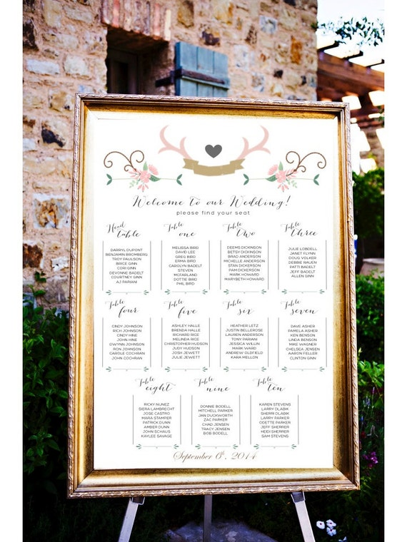 Wedding Table Assignments Board Table Listings Wedding