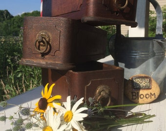 Antique Vintage Wood Sewing Table Drawers with Ornate Brass Pulls