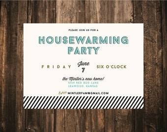 Modern Housewarming Invitation // 5x7 // 10 Printed Sets // Moving Announcement, Adult Party, Housewarming Party