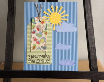 Handmade, Stamped, You Make Me Smile Card with Birds, Sun, and Clouds