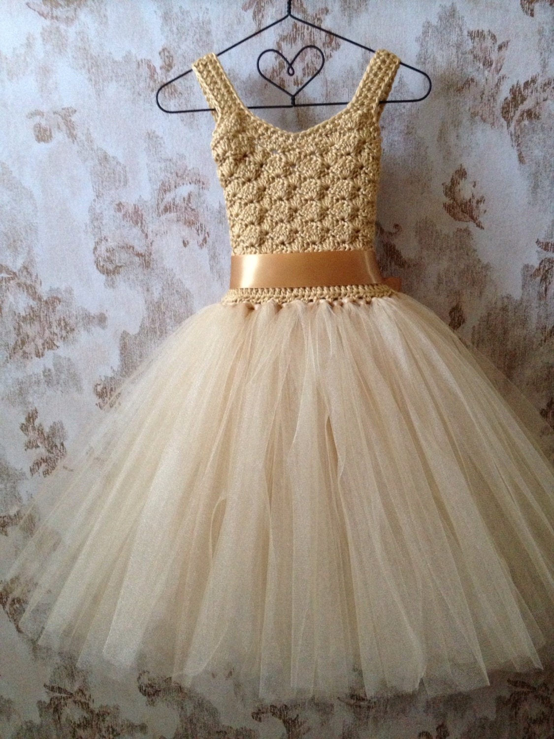 Gold flower girl tutu dress ankle length tutu dress Boho by Qt2t