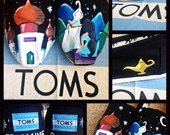 Custom painted Aladdin/Princess Jasmine Toms. Designed and personalized just for you!