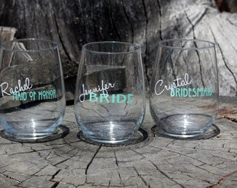 8 Personalized Bridal Stemless Wine Glasses. Great for bachelorette and wedding parties. Custom Bridal Wine glasses.