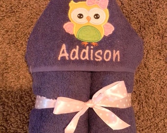 Personalized Owl Hooded Towel