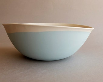 Light blue white porcelain bowl Ceramic salad bowl Pasta serving bowl piece Ceramic dinnerware Modern pottery gift for her holiday gift idea