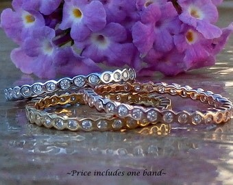 Eternity Band, Bubble Band, Sterling Silver Eternity band, Simulated Diamond Band, Diamond Eternity