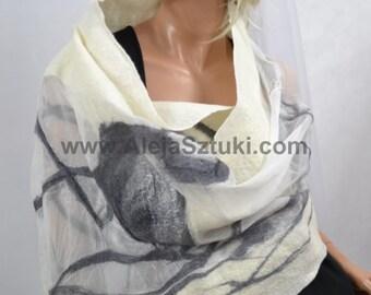 Felted scarf shawl  SIlk Heron, handmade, art to wear, wool scarf, 100% natural, eco fashion