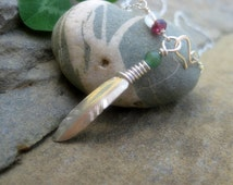 Sterling silver hummingbird feather necklace; lariat necklace with front clasp; with garnet, quartz and green aventurine