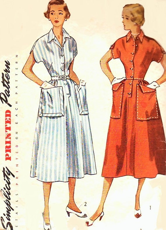 50s Large Pockets Dress Simplicity 3289 Vintage Sewing Pattern Kimono Sleeves Nice Tailored Details Bust 34 Pattern