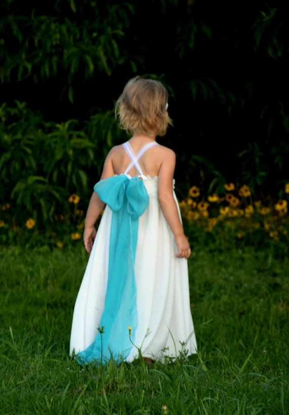 Simple flower girl dress white chiffon lace free flowing beach for Beach wedding flower girl dresses