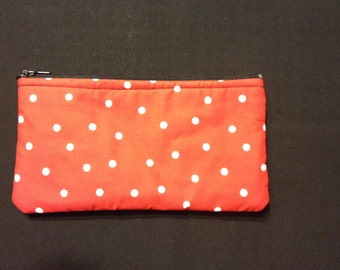 White Polka Dots on Red Pencil Case / Zipper Pouch #14
