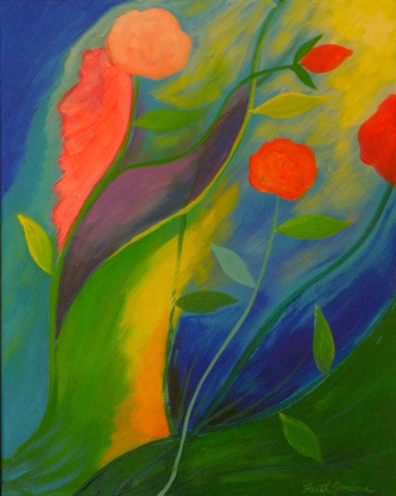 Vibrant flowers abstract flower painting on canvas whimsical for Bright flower painting