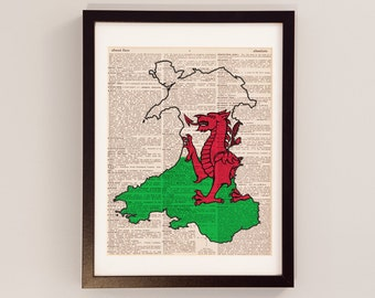 Wales Dictionary Art Print - Welsh Art - Print on Vintage Dictionary Paper - I Heart Wales, Cardiff, Swansea, Newport, Wales Flag