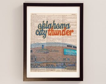 Oklahoma City Thunder Dictionary Art Print - Cheasapeake Energy Arena, OKC - Print on Vintage Dictionary Paper - Basketball Art