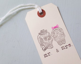 Mr and Mrs Day of the Dead Wedding Favor Tags - Mr and Mrs Gift Tag - Skulls