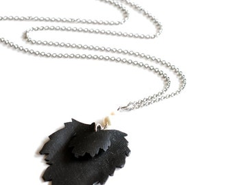Maple leaf inner tube necklace , upcycled bicycle tube leaf pendant , recycled rubber leaf jewelry , long leaf necklace , long leaf pendant