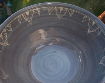 Handmade and hand decorated serving bowl fruit bowl lavender grey