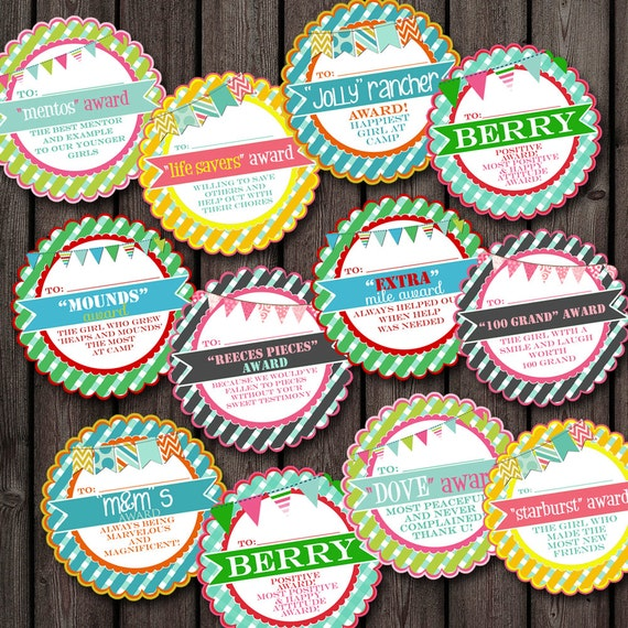 Girls camp awards tags 28 different adorable tag designs candy