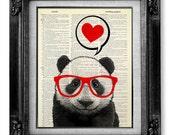 DECORATIVE Art Wall Hanging, DICTIONARY Art Print, Dictionary Paper, Panda Art, 1st First ANNIVERSARY Gift Man Boyfriend Girlfriend Husband