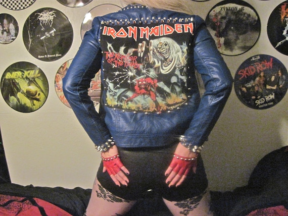 Reserved Iron Maiden Blue Leather Jacket