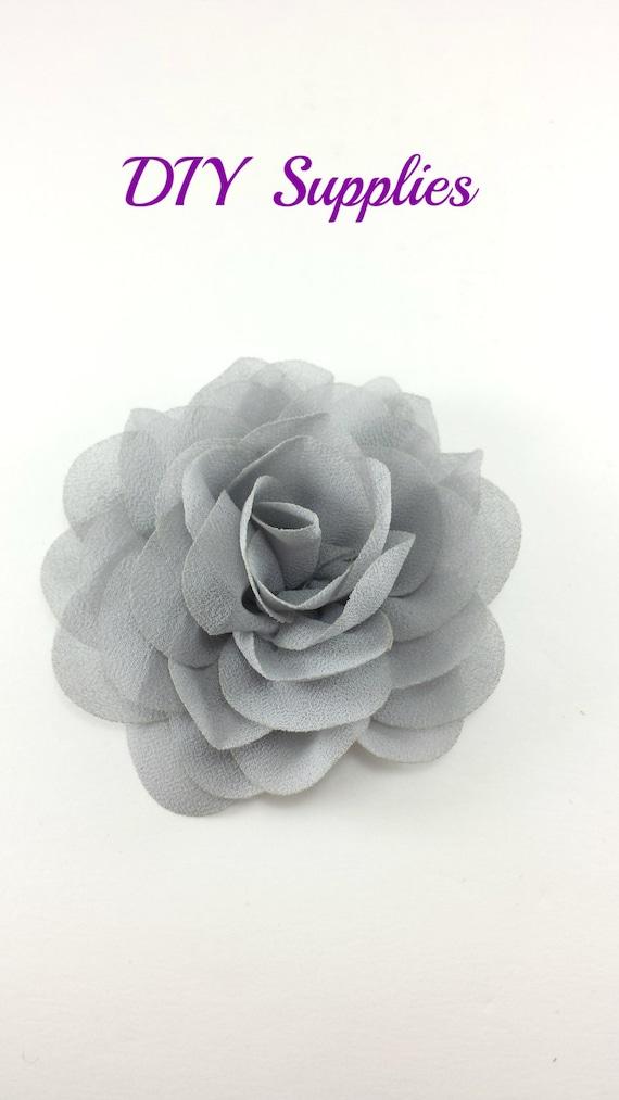 3 Gray Silk Rose Fabric Flower Rosette Silk Flower For