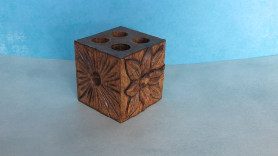 Items similar to pencil holder pen wood carving