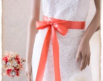 LIGHT CORAL  Bridal Sash, Satin Ribbon Sash, Wedding Sash, Satin Bridal Sash, Bridesmaids Sash, Bridal Belt