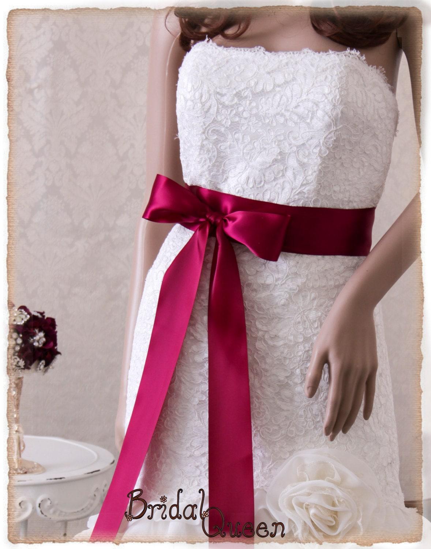 Burgundy satin bridal sash wedding sash belt satin ribbon for Sashes for wedding dresses