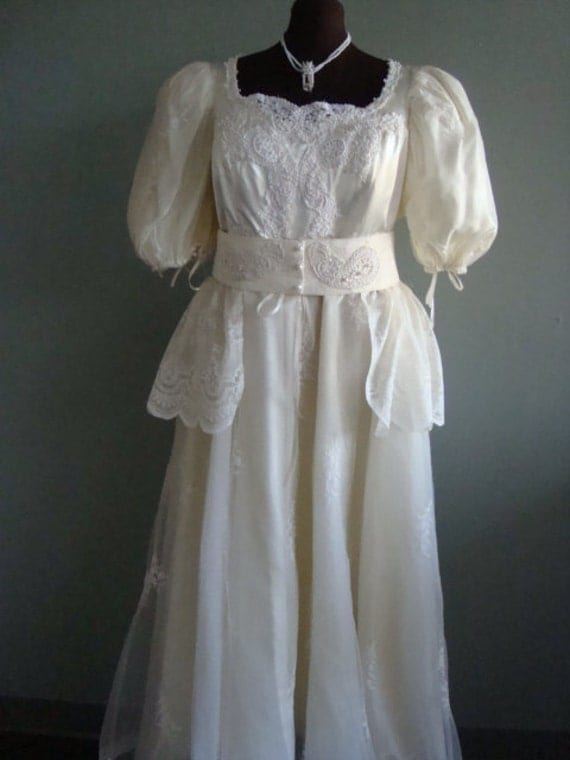Plus Size Beige Satin Victorian Era Wedding By Seamslikeoldetimes