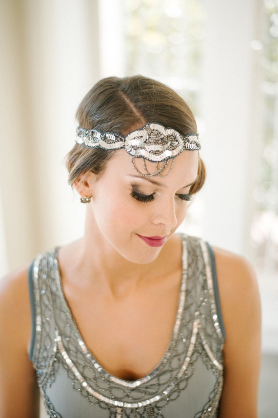 Grey Blue Great Gatsby Flapper Headband Vintage inspired 1920s vibe Beaded Robe Charleston Downton Abbey Sequin Mod Art Deco New Hand Made