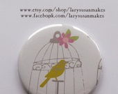 Pocket mirror bird in cage print
