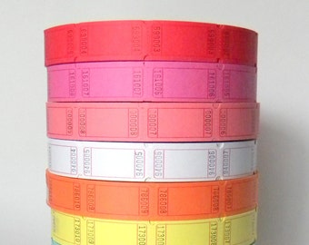 Pick Your Color 100 Numbered Carnival Tickets, Prize Tickets, Numbered and Blank on Back