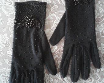 1950s Black Beaded Gloves