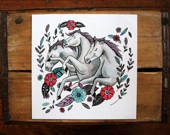 "Pharaoh's Horses 10x10"" Fine Art Print"