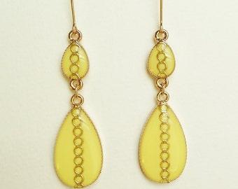 Pale Yellow Earrings, Yellow Teardrop Earrings, Teardrop Earrings with Gold Ring Motif, Hypoallergenic, Resin Jewelry For Her