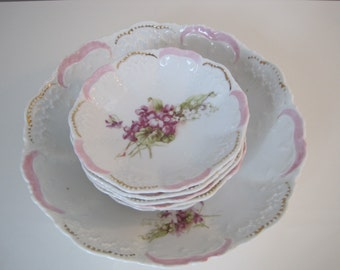 Vintage Shabby Chic Pink and Gold Serving Bowls (Set of 6)
