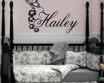 Personalized Name Butterflies Flower Decal // Custom Name Decal // Vinyl Wall Sticker // Girls Name Decal // Personalized Kids Decal // FA26
