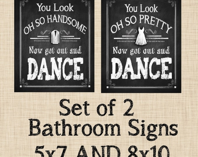 Chalkboard style Get Out and Dance Bathroom Signs - DIY Printable - Rustic Chalkboard Collection