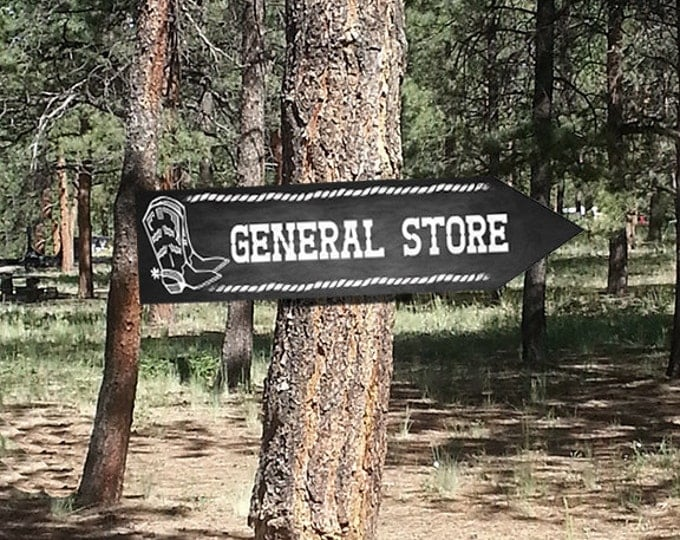 Western Themed General Store DIRECTIONAL signs - Chalkboard Style - PRINTABLE file - diy Western Wedding or event signage