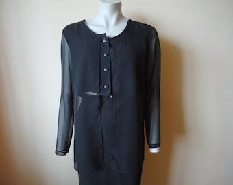 Black Blouse Women Blouse Sheer Black Chiffon Women's Blouse Long Sleeve Shirts Silky  Romantic Top Button up