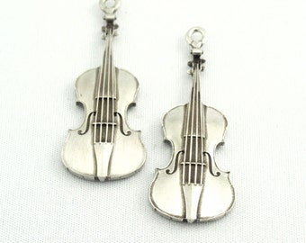 Metal Violin Charms or Pendants, Lead Free Pewter Metal QTY:3 Charms